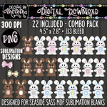COMBO 22 Pack Set Bunny Tags Boy Girl Sublimation Design
