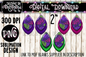 Neon Animal Print 3 Pair Leaf Earring Sublimation Design