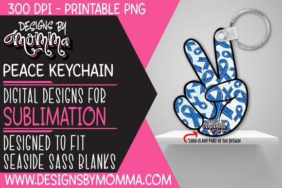 Awareness Blue Peace Hand Keychain Sublimation Design