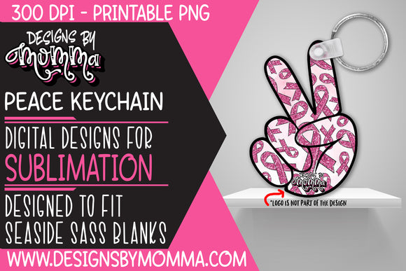 Awareness Pink Peace Hand Keychain Sublimation Design