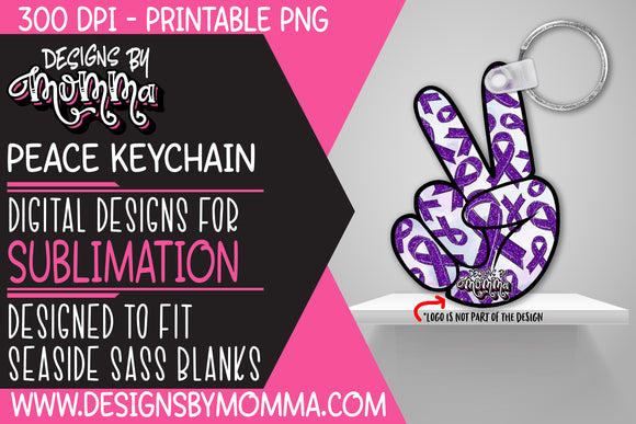 Awareness Purple Peace Hand Keychain Sublimation Design