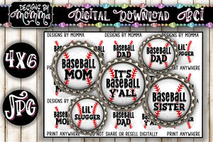 "1"" BCI Baseball Family - Bottlecap Images DIGITAL DOWNLOAD"
