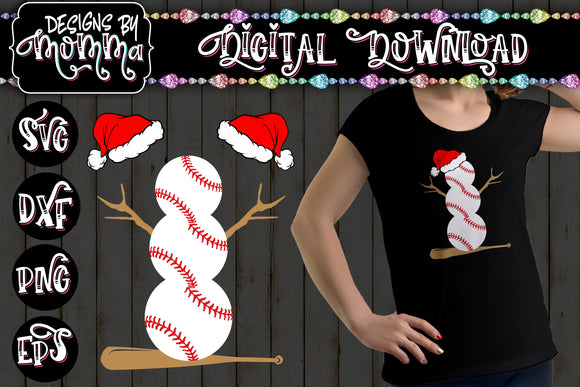 Baseball Snowman with Santa Hats SVG DXF EPS PNG