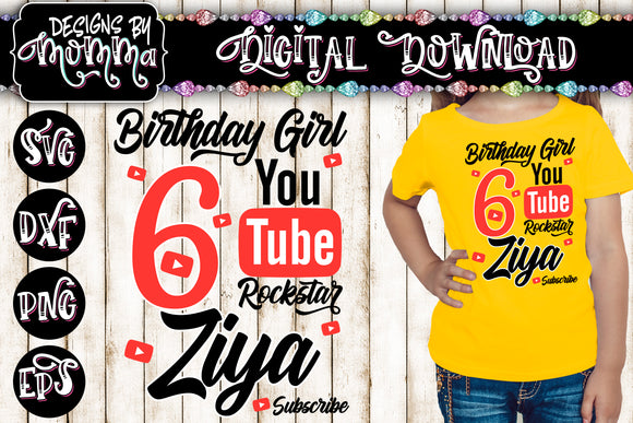Custom Name and Age Birthday Girl - Youtube Rockstar - SVG DXF EPS PNG