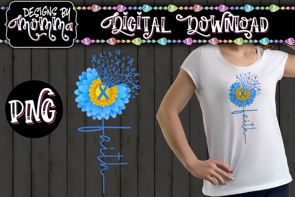 Awareness Flower Blue Faith Sublimation Iron on Printable PNG