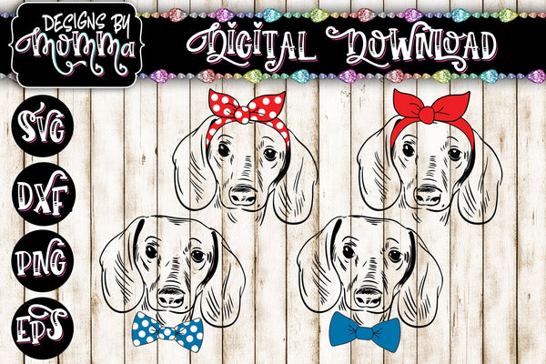 Dachshund Girl AND Boy Set with Solid and Polka Dot Bow Headband SVG DXF EPS PNG
