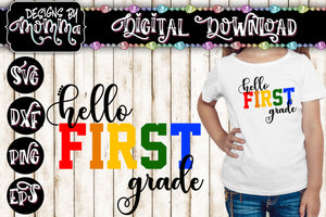 Hello First Grade 1st Grade Multicolor SVG DXF EPS PNG