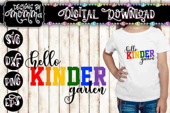 Hello Kindergarten Multicolor SVG DXF EPS PNG