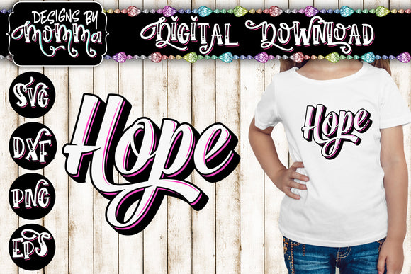 Hope Script Handlettered Style Word SVG DXF EPS PNG