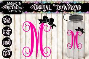 Letter M Monogram with Bow SVG DXF EPS PNG