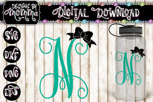 Letter N Monogram with Bow SVG DXF EPS PNG