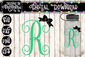 Letter R Monogram with Bow SVG DXF EPS PNG