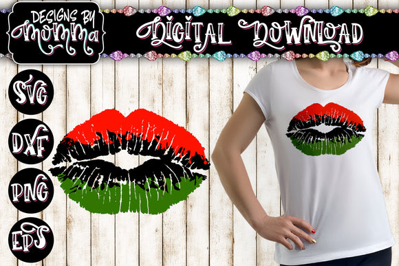 Lips Red Green Black SVG DXF EPS PNG