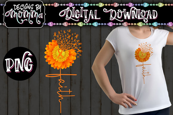 Awareness Flower 2 Orange Faith Sublimation Iron on Printable PNG