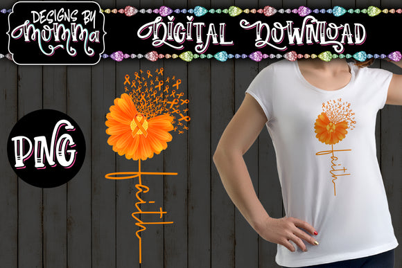 Awareness Flower Orange Faith Sublimation Iron on Printable PNG