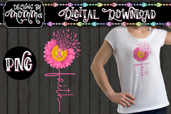 Awareness Flower Pink Faith Sublimation Iron on Printable PNG