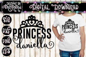 Custom Name - Princess Crown SVG DXF EPS PNG