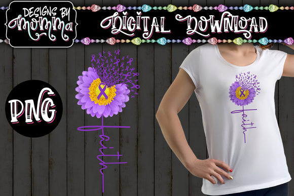 Awareness Flower Purple Faith Sublimation Iron on Printable PNG