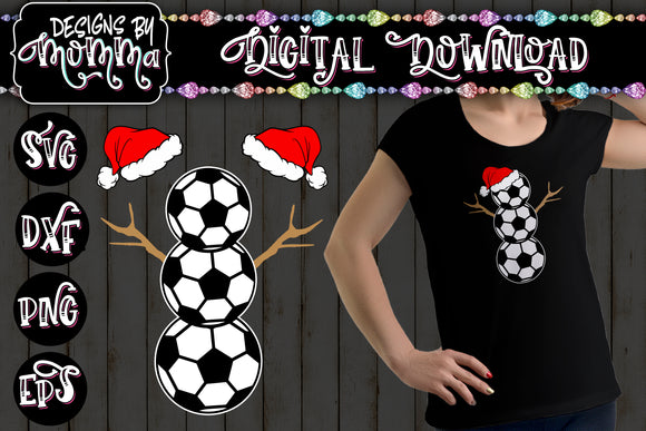 Soccer Snowman with Santa Hats SVG DXF EPS PNG