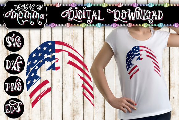 Military Soldier American Flag Cutout SVG DXF EPS PNG