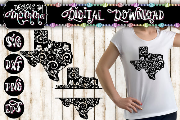 Texas Flourish plus Split for name SVG DXF EPS PNG