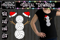 Volleyball Snowman with Santa Hats SVG DXF EPS PNG