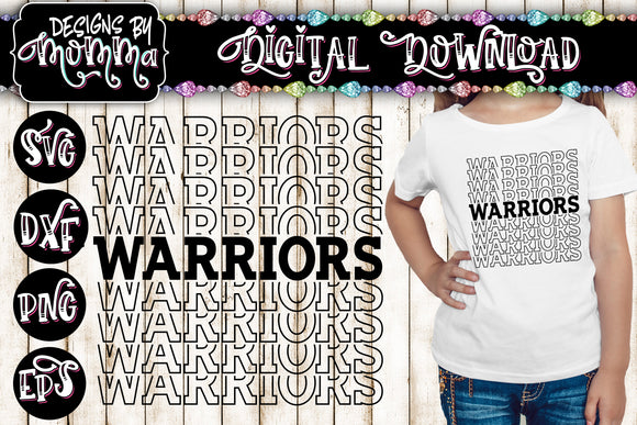Warriors Sports Team Word Stack SVG DXF EPS PNG