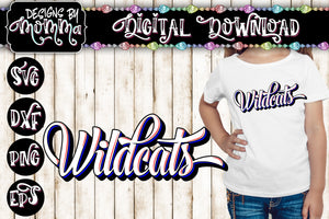 Wildcats Script Handlettered Style Team Name SVG DXF EPS PNG