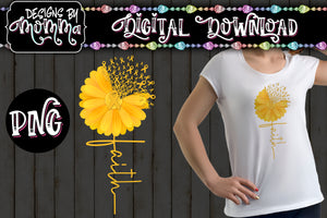 Awareness Flower Yellow Faith Sublimation Iron on Printable PNG