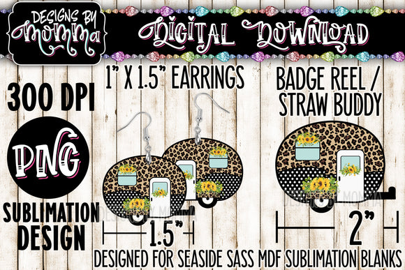 Camper Leopard Dots Sunflowers Earring - Straw Buddy - Badge Reel Sublimation Design