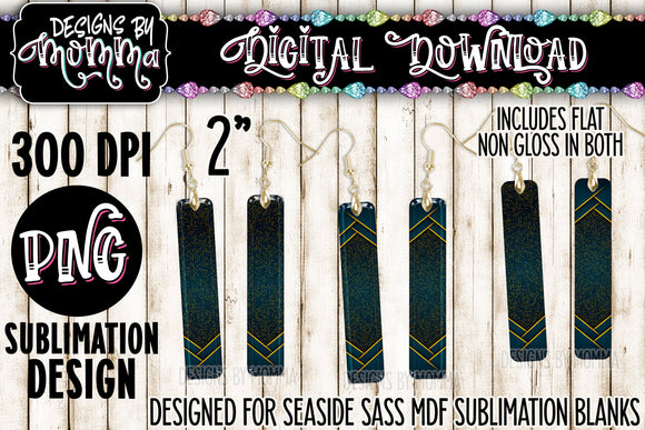 Teal Gold Black Stripes Bar Earring Sublimation Design
