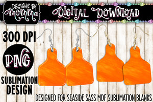 Orange Watercolor Texture Cow Tag Earring Sublimation Design