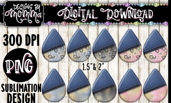 Half Jean Pastel Watercolor Bandana Teardrop Earring Sublimation Design
