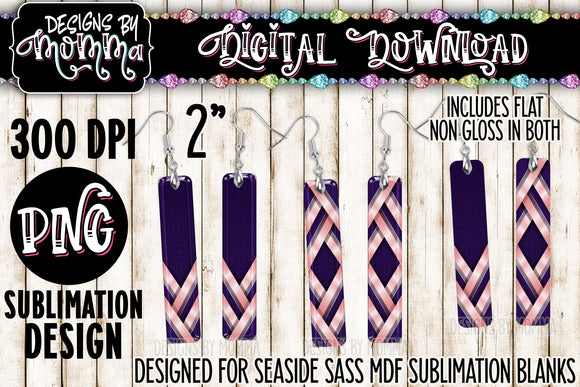 Purple Pink Stripes Bar Earring Sublimation Design