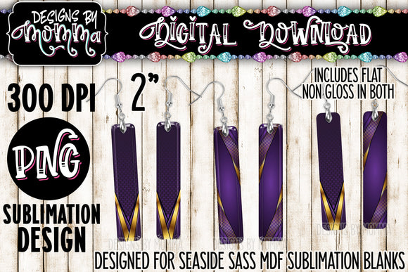 Purple Gold Stripes Bar Earring Sublimation Design