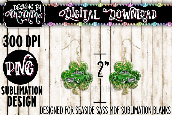 Green Truck Shamrock Earring Sublimation Design