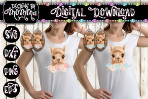 Cute Llama with Pink and Blue Flowers - Leaf Earring and Shirt Sublimation Design