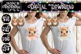 Cute Llama with Pink and Blue Flowers - Teardrop Earring and Shirt Sublimation Design