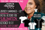 Baseball Jersey Black White Solid 1.5 inch Earring Sublimation Design