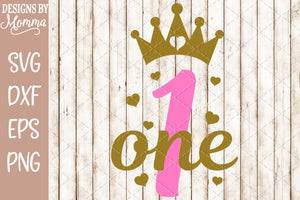 Number 1 with Crown SVG DXF EPS PNG