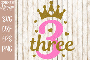 Number 3 with Crown SVG DXF EPS PNG