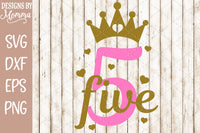 Number 5 with Crown SVG DXF EPS PNG