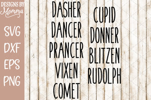 Santas Reindeer Names for Ornaments SVG DXF EPS PNG