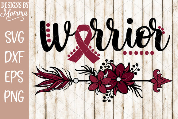Warrior Arrow Burgundy Awareness SVG DXF EPS PNG