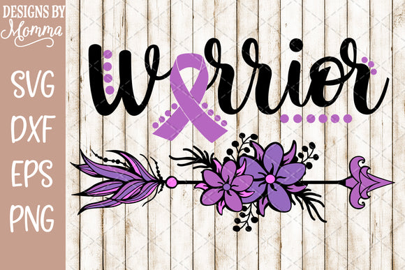 Warrior Arrow Purple Awareness SVG DXF EPS PNG