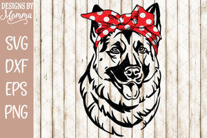 German Shepherd with Red Headband SVG DXF EPS PNG
