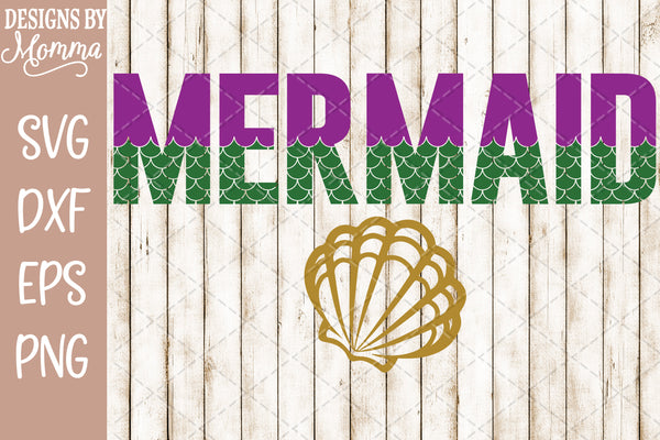Mermaid Word Scales SVG DXF EPS PNG