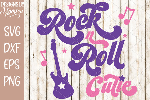 Rock and Roll Rock n Roll Cutie Guitar SVG DXF EPS PNG