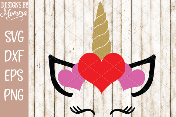 Unicorn Face Valentine SVG DXF EPS PNG