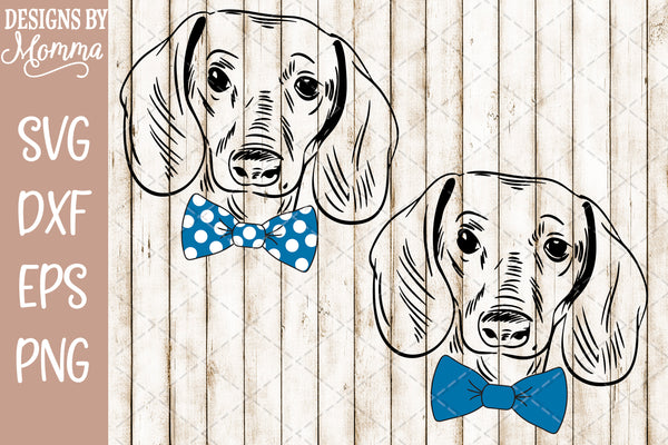 Dachshund Boy with Solid and Polka Dot Bow SVG DXF EPS PNG
